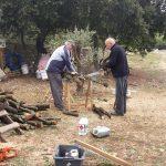 préparation du bois pour la charbonnière